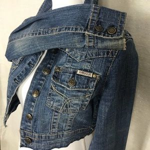 Hydraulic distress Cropped jean jacket